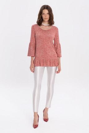 FLAMENCO Kadın Kırmızı Beyaz Puantiyeli Ispanyol Kol Bluz