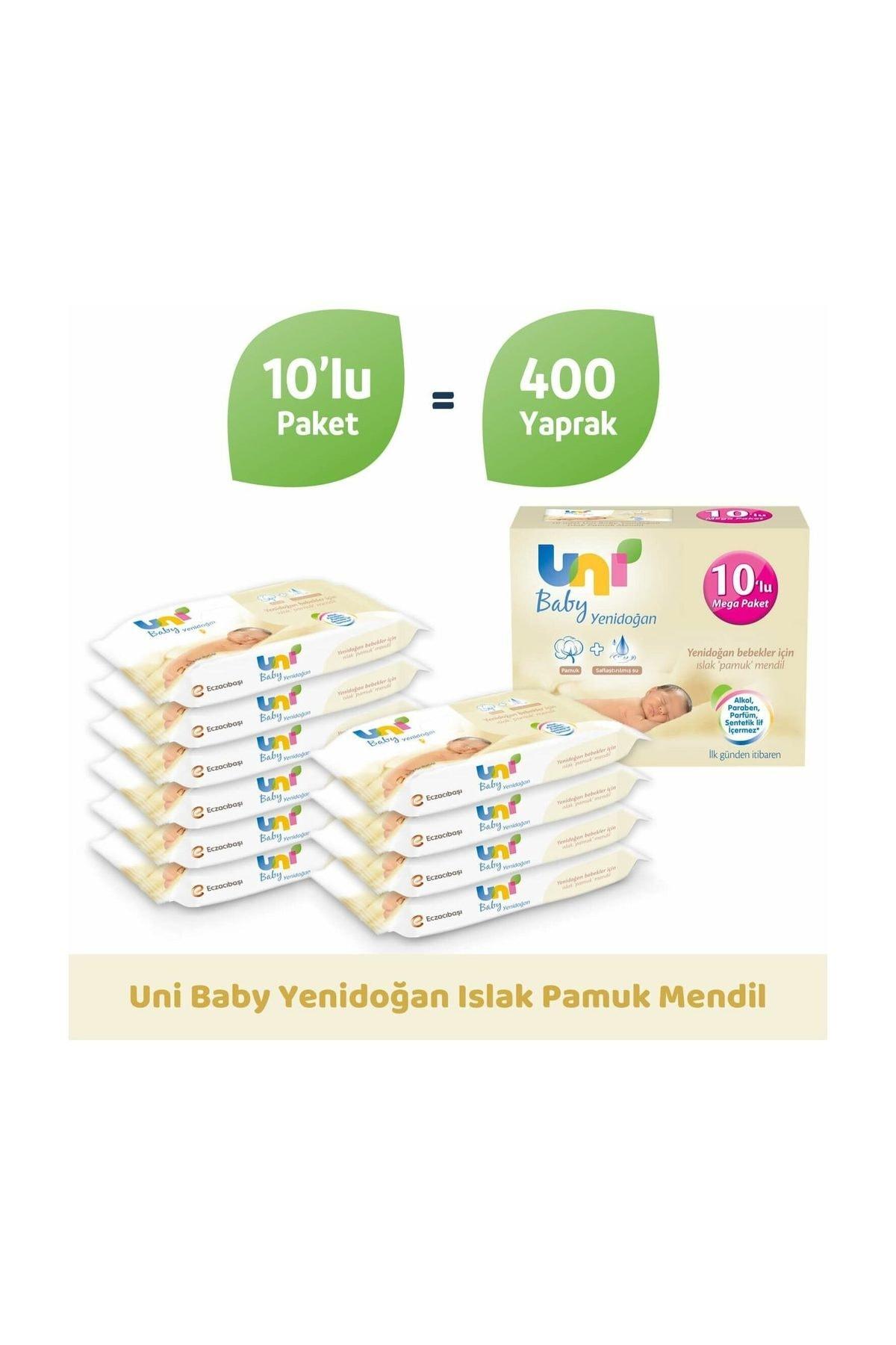 Uni Baby Yenidoğan Islak Mendil 10'lu Paket - 400 Yaprak 8692190010246 2