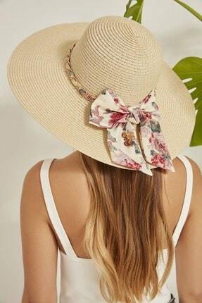 C&City Kadın Hasır Plaj Şapkası Y2730-43 Bej