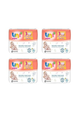 Uni Wipes Uni Baby Pudra Kokulu Islak Bebek Havlusu 52 Li 12 Paket 624 Kullanım