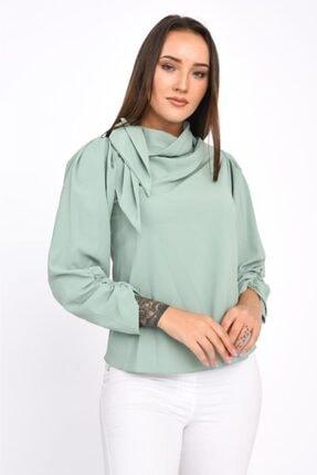 Modkofoni Fular Detaylı Uzun Kollu Mint Yeşil Bluz