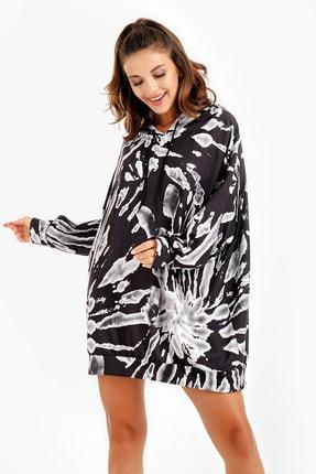 By Saygı Kadın Siyah Kapüşonlu Grafik Desenli Oversize Sweat Elbise S-20Y2060072