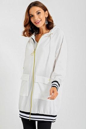 By Saygı Kadın Beyaz Kolu Eteği Şeritli Ribanalı Fermuarlı Ceket S-20Y0250020