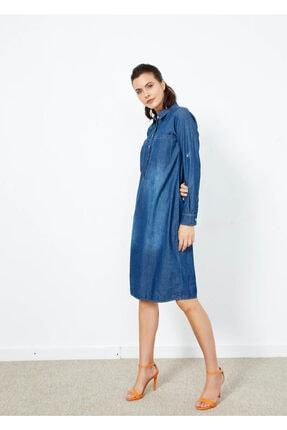 Adze Kadın Indigo Ön Düğmeli Uzun Kol Kot Elbise
