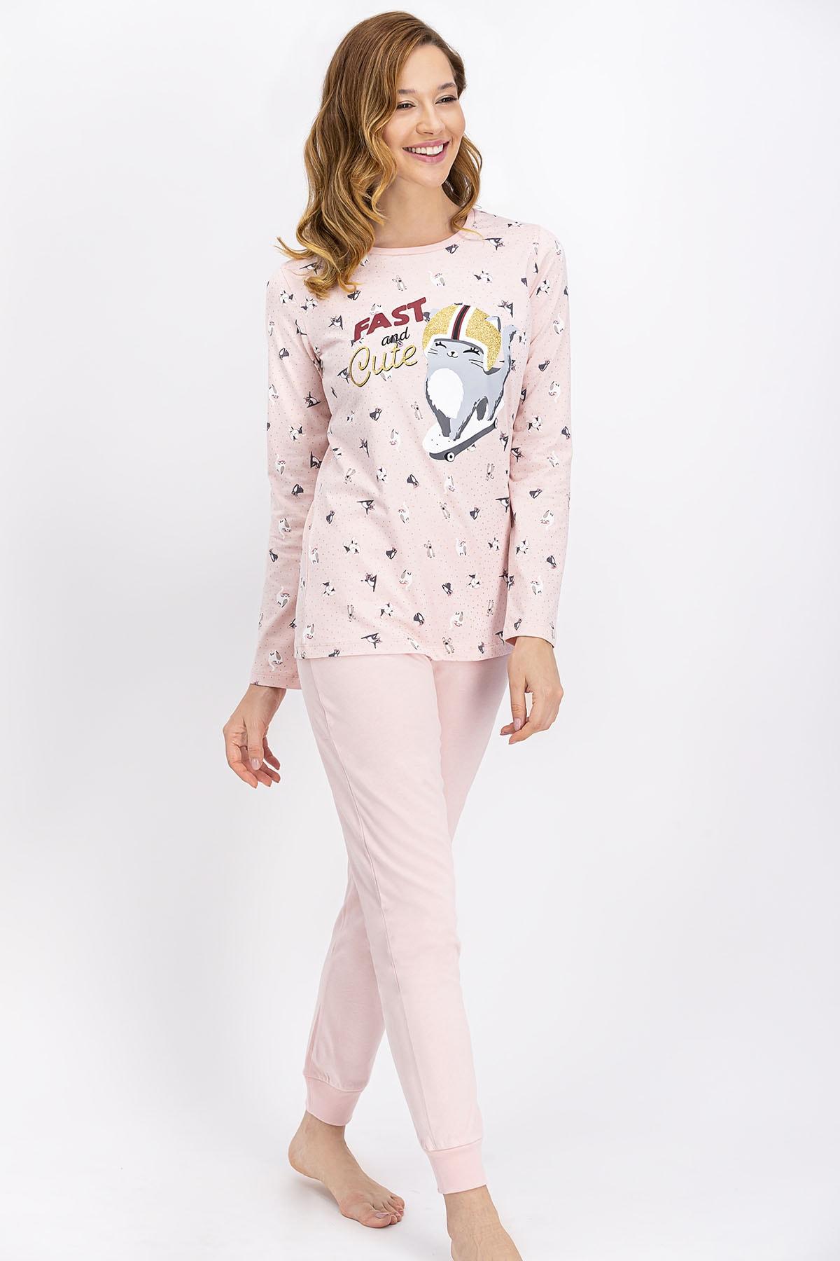 ROLY POLY Kadın Somon Fast And Cute Pijama Takımı 1