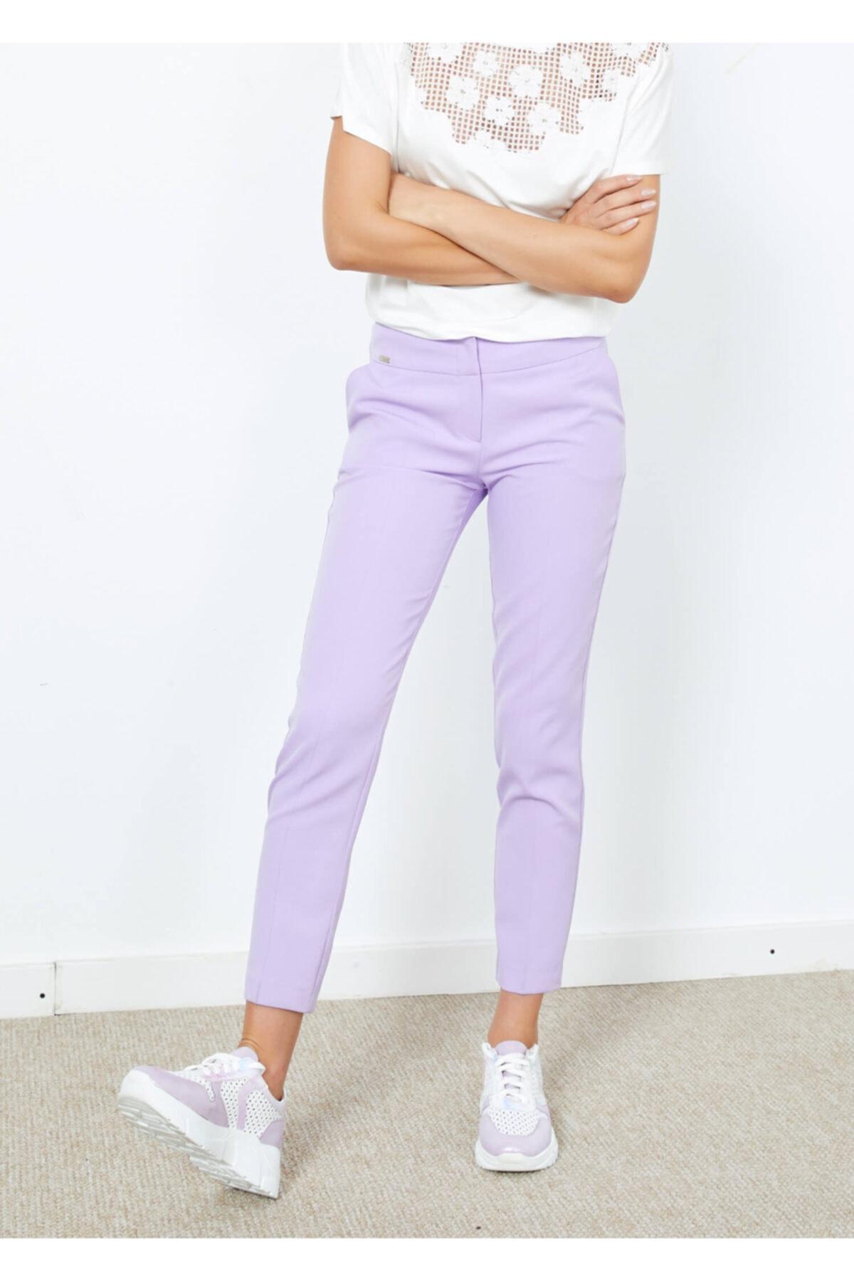 Adze Kadın Lila Yan Cepli Pantalon 36 1