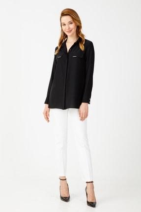 Moda İlgi Kadın Siyah Erkek Yaka Kapaklı Gömlek