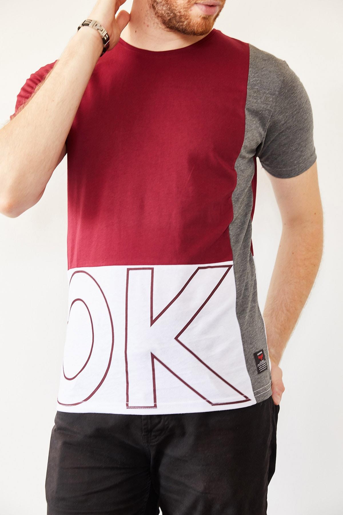 XHAN Erkek Bordo & Beyaz Baskılı T-shirt 0yxe1-44021-05 1