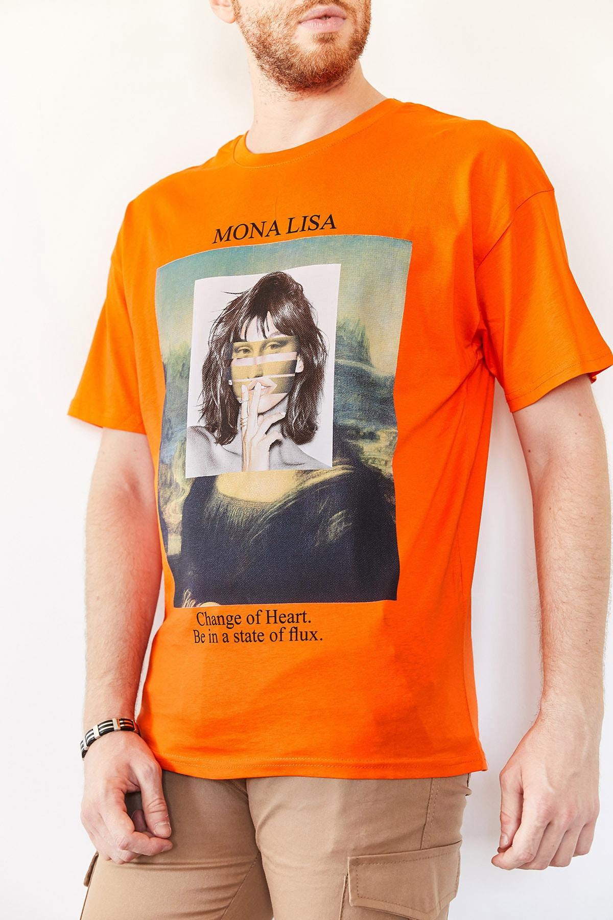XHAN Erkek Turuncu Baskılı Salaş T-shirt 0yxe1-44016-11 1
