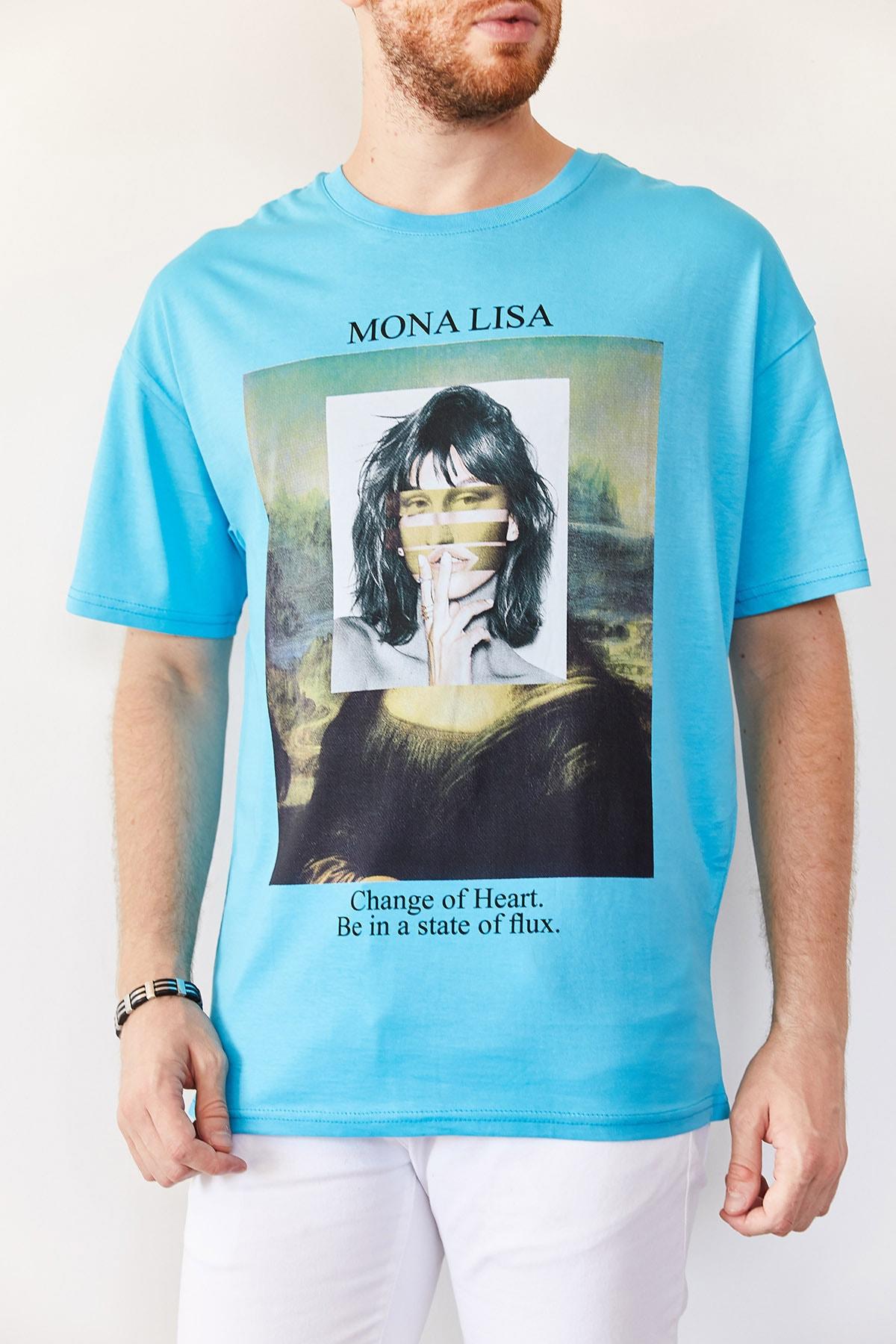 XHAN Erkek Turkuaz Baskılı Salaş T-shirt 0yxe1-44016-13 1
