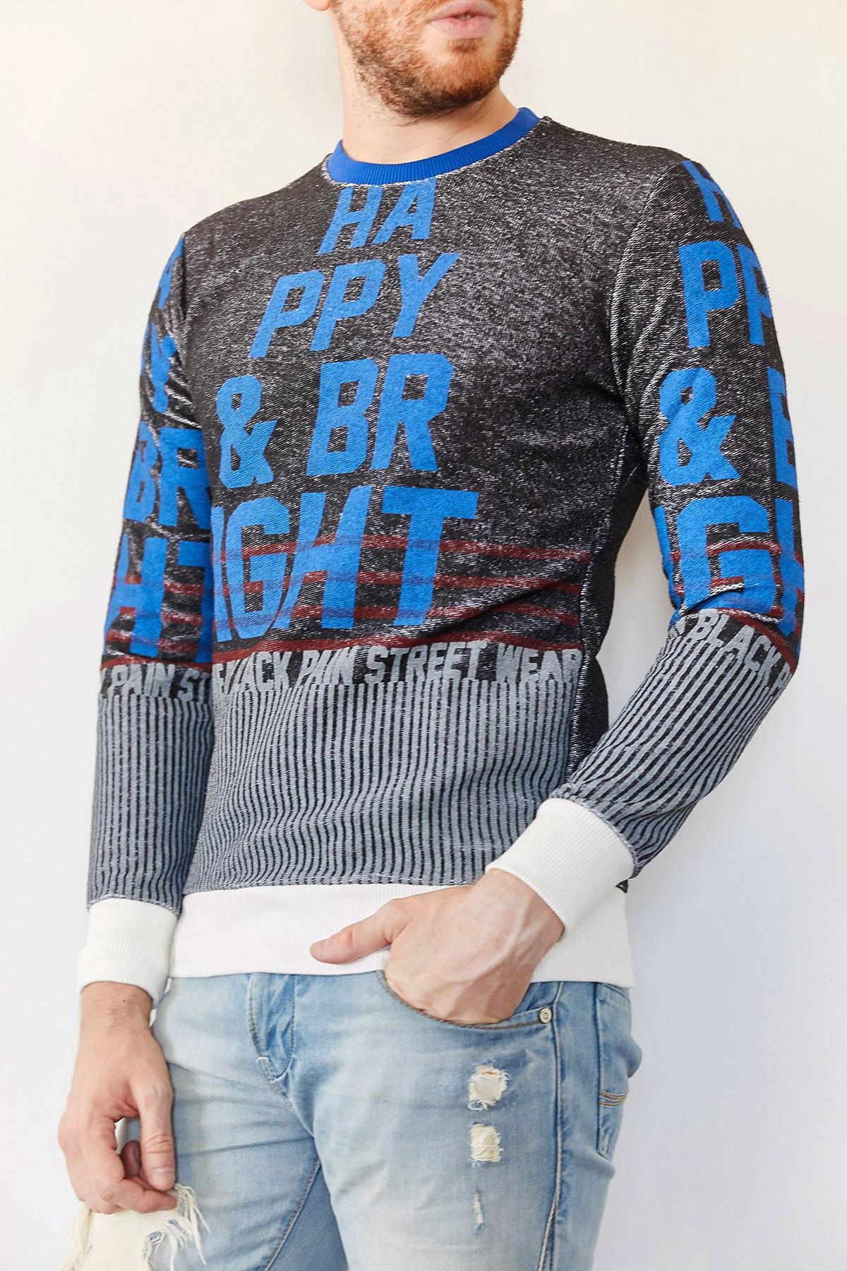 XHAN Erkek Siyah Baskılı Sweatshirt 1