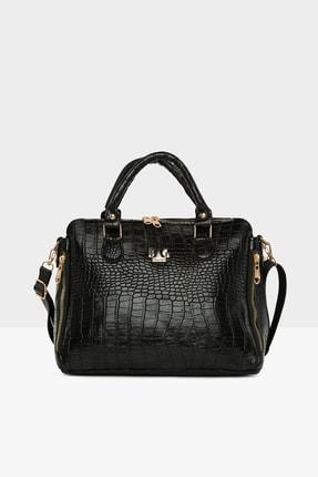 Bagmori Kadın  Siyah Dik Çift Fermuarlı Askılı Çanta M000005043