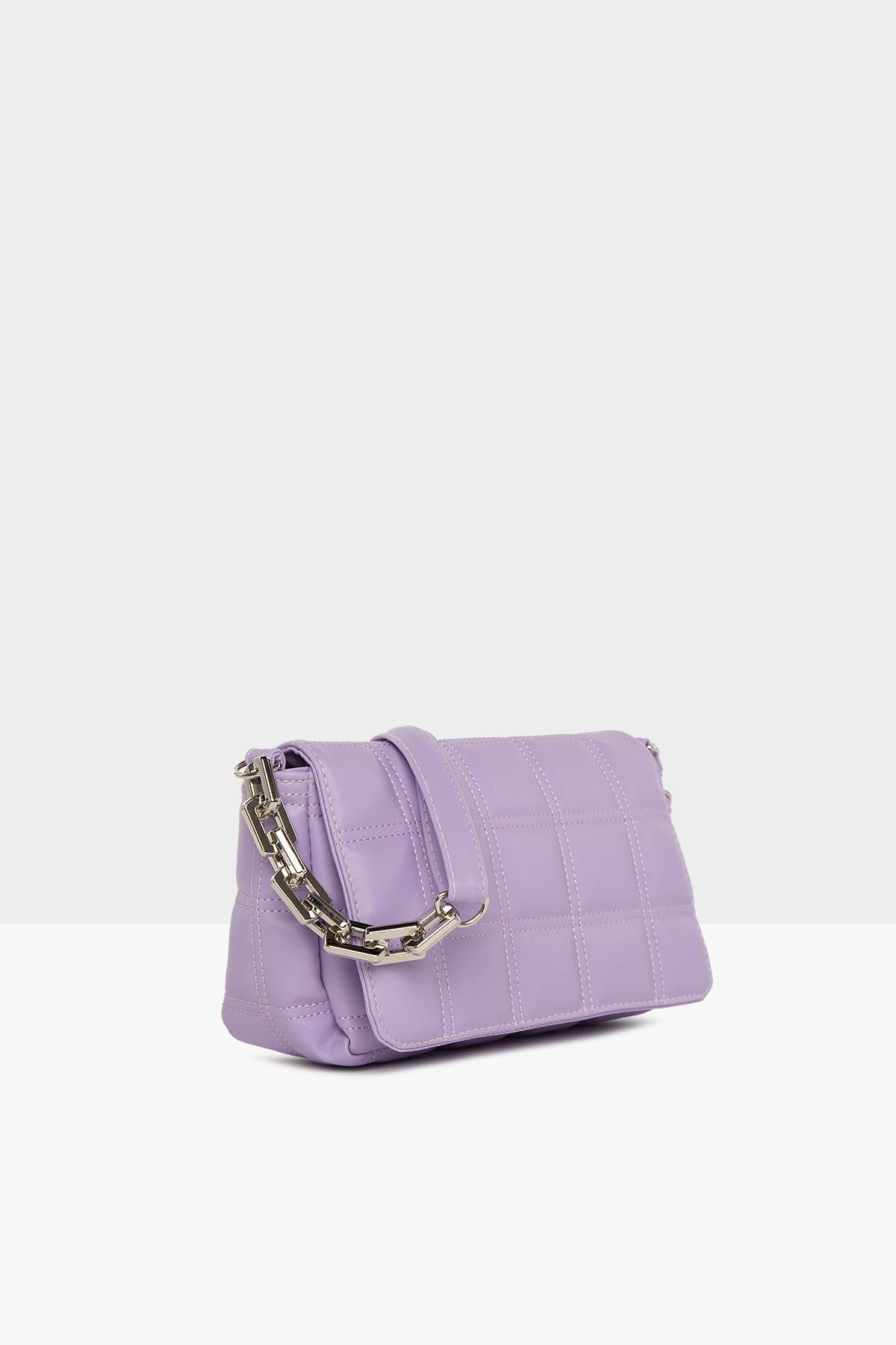 Bagmori Kadın Mor Nakışlı Kapaklı Mini Çanta M000004928 2