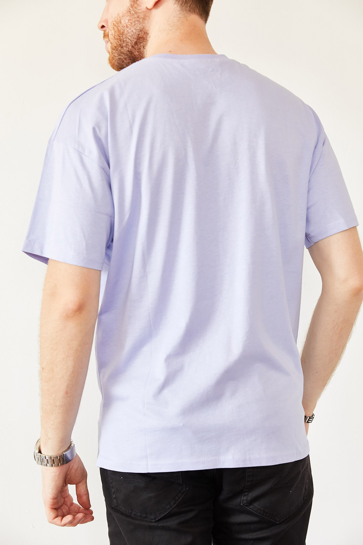 XHAN Erkek Mavi Baskılı Salaş T-shirt 0yxe1-44016-12 2