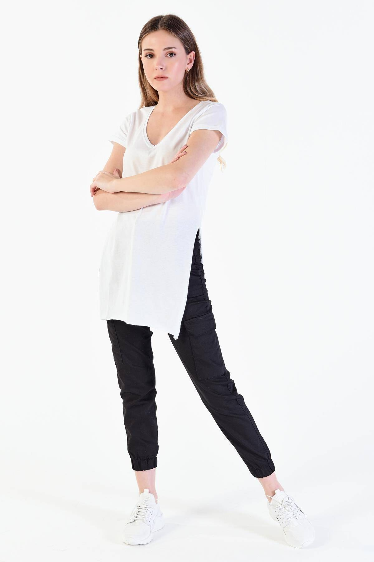 Addax Kadın Beyaz V Yaka T-shirt ADX-00007205 2