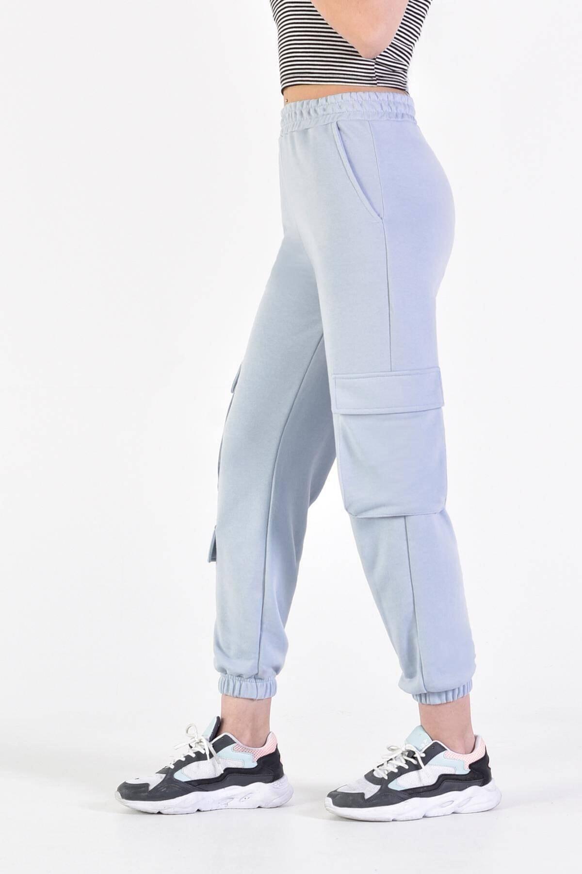 Addax Kadın Açık Mavi Cep Detaylı Eşofman Eşf0836 - U10 - U11 2