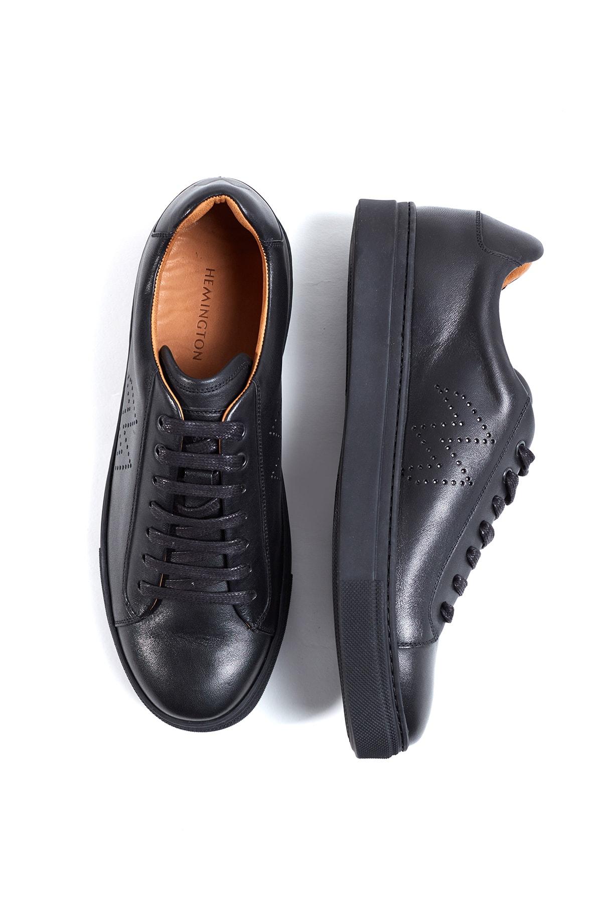 Hemington Siyah El Yapımı Deri Sneakers 2