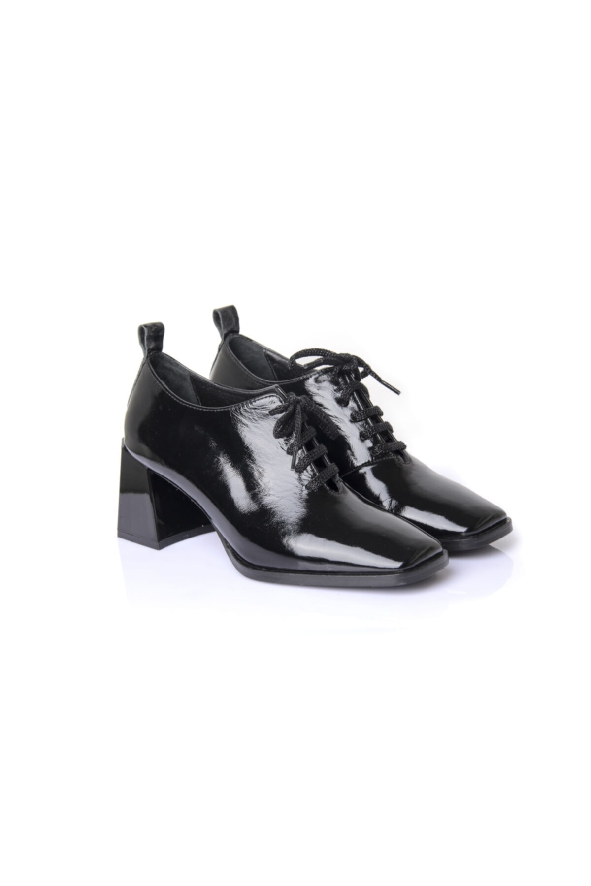 RUKASHOES Kadın Siyah Rugan Hakiki Deri Ayakkabı 7235 2