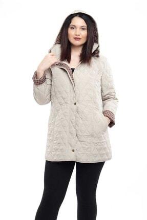 Tuva Tekstil Kadın Beyaz Ekose Desenli Kapitone Mont