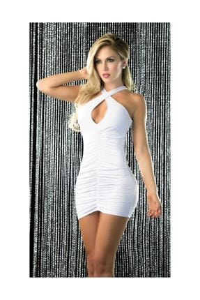 For Dreams Kadın Beyaz Dekolteli Fantezi Elbise
