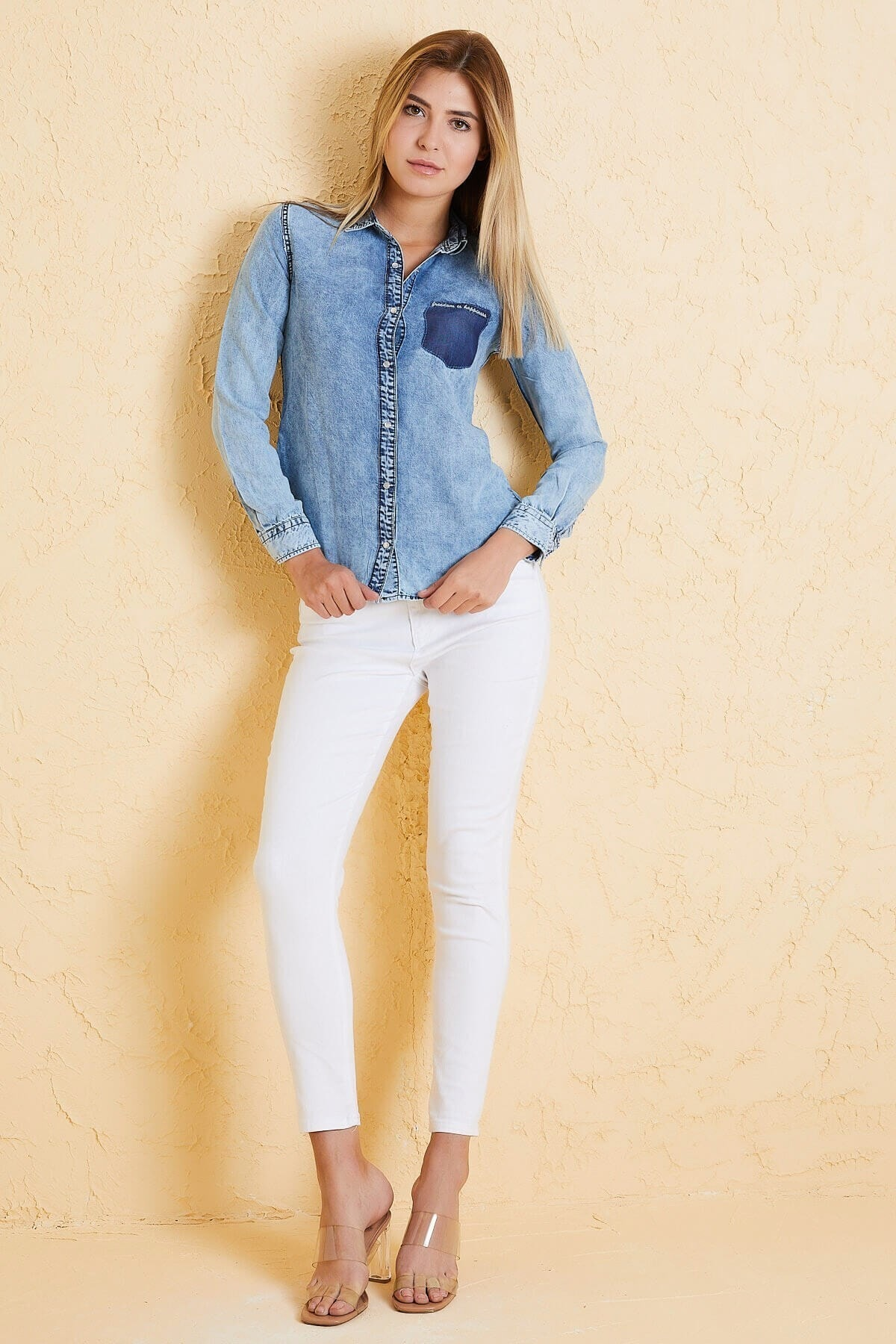 Twister Jeans Twıster Jeans Bg 810-02 Kadın Kot Gömlek Mavi 2