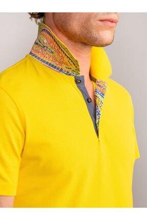 Dufy Erkek Sarı Yaka İçi Detaylı Merserize Pamuk Polo Yaka Slimfit T-shırt