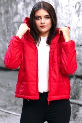 Madmext Kadın Kırmızı Kapüşonlu Fermuarlı Mont Mg712