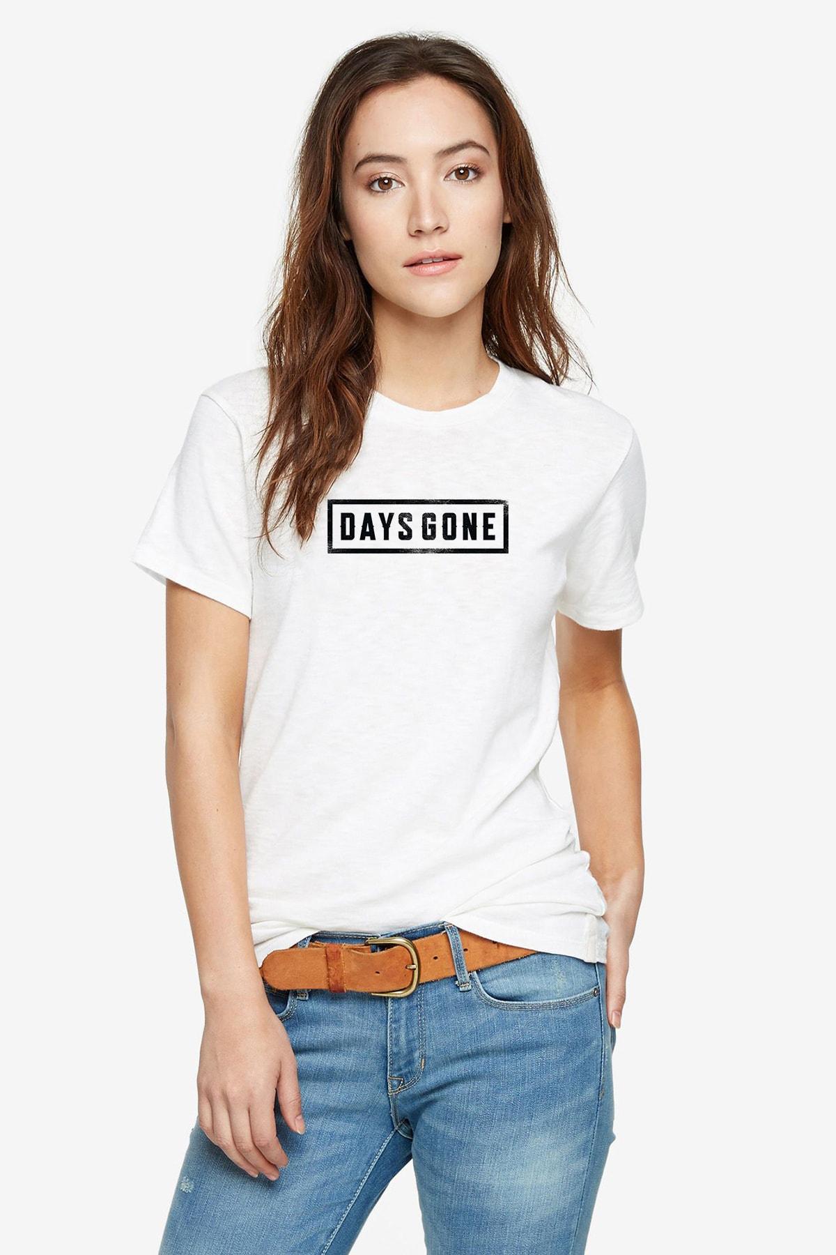 QIVI Days Gone Logo Baskılı Beyaz Kadın Örme Tshirt 1