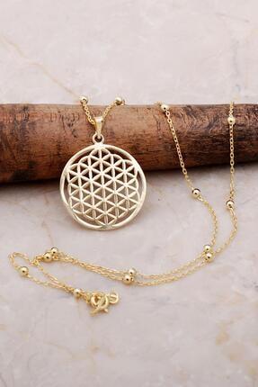 Sümer Telkari Yaşam Çiçeği Altın Yaldızlı Dorica Gümüş Kolye 6899