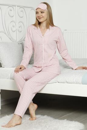 Pijamaevi Pembe Çizgili Önden Düğmeli Uzun Kollu Pijama Takımı
