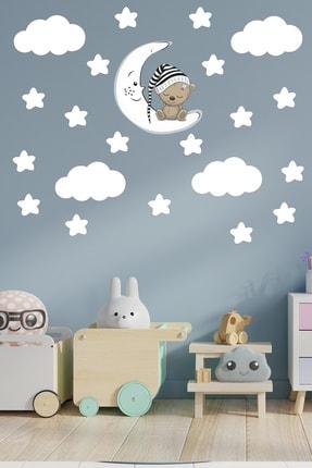 Tilki Dünyası Uyuyan Ayıcık  Beyaz Yıldızlar Ve Bulutlar Dekoratif Bebek Çocuk Odası Duvar Sticker