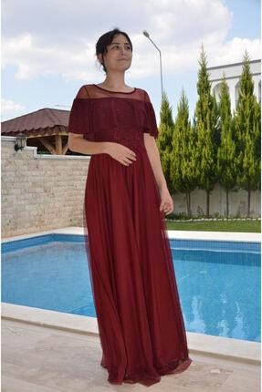 zeynep Kadın Bordo Göğsü Volanlı Tül Etek Uzun Elbise