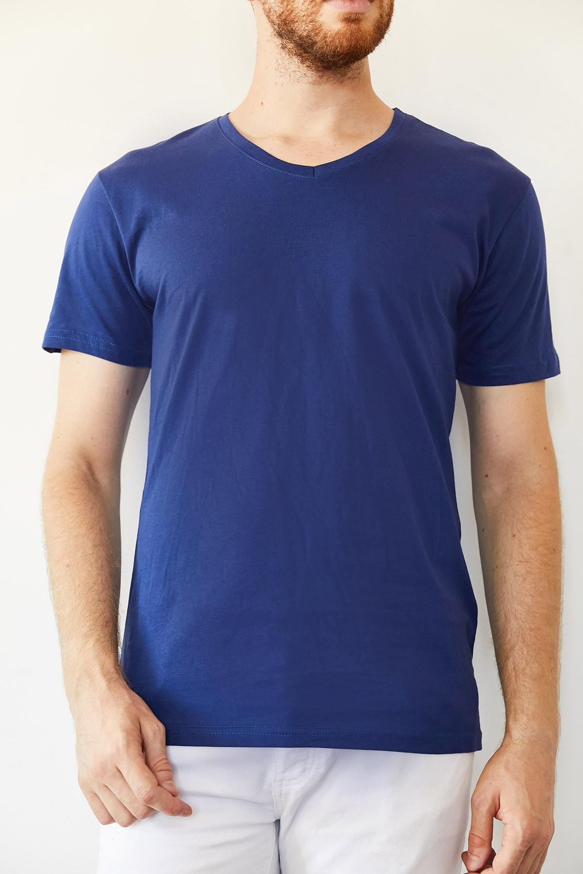 XHAN Erkek Lacivert Indigo V Yaka Basic T-shirt 0yxe1-44123-27 1