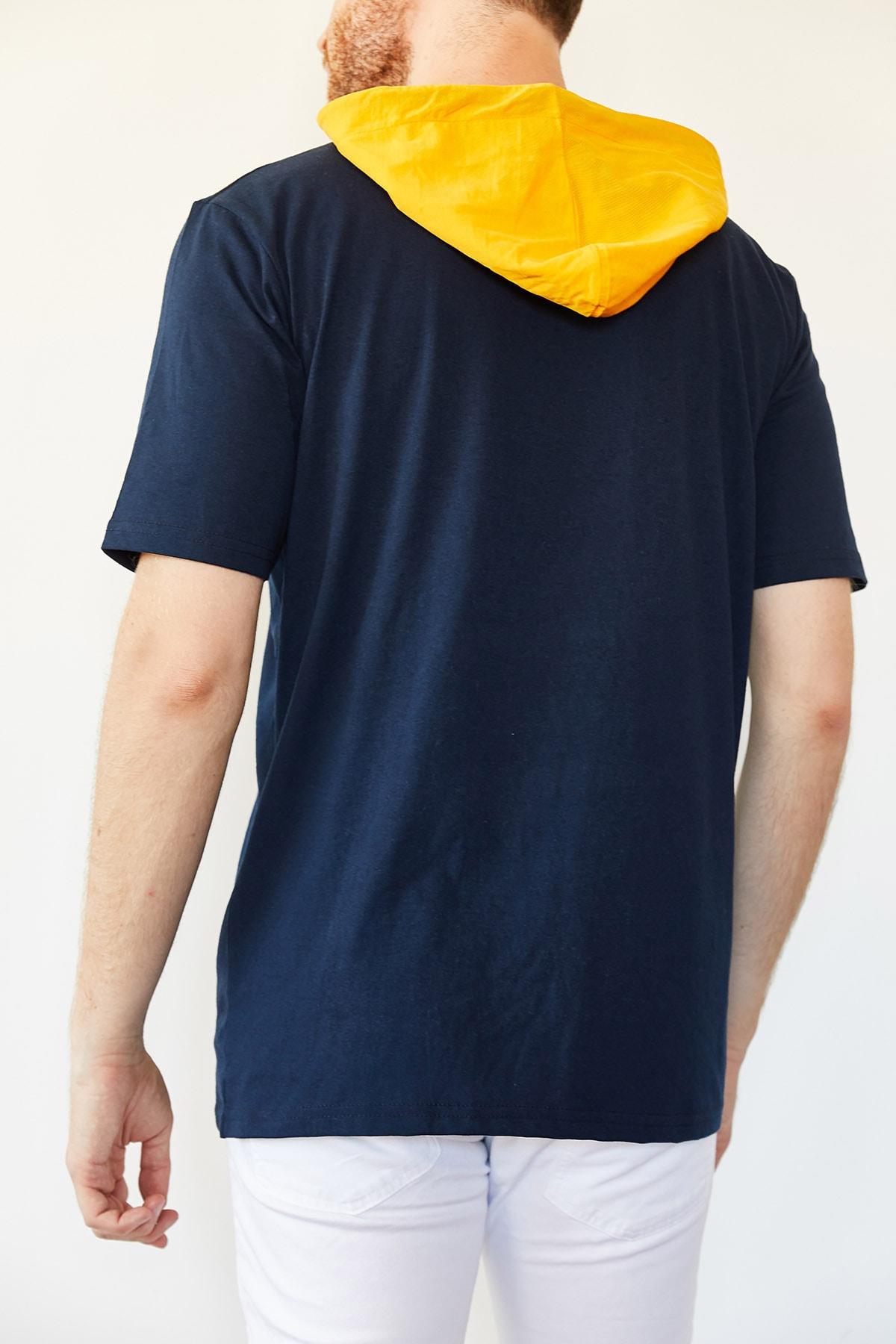 XHAN Lacivert Cep Detaylı Kapüşonlu T-shirt 0yxe8-44091-14 2