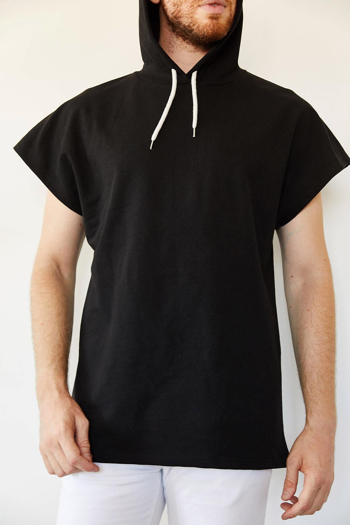 XHAN Erkek Siyah Kolsuz Sweatshirt 0yxe8-44068-02 1