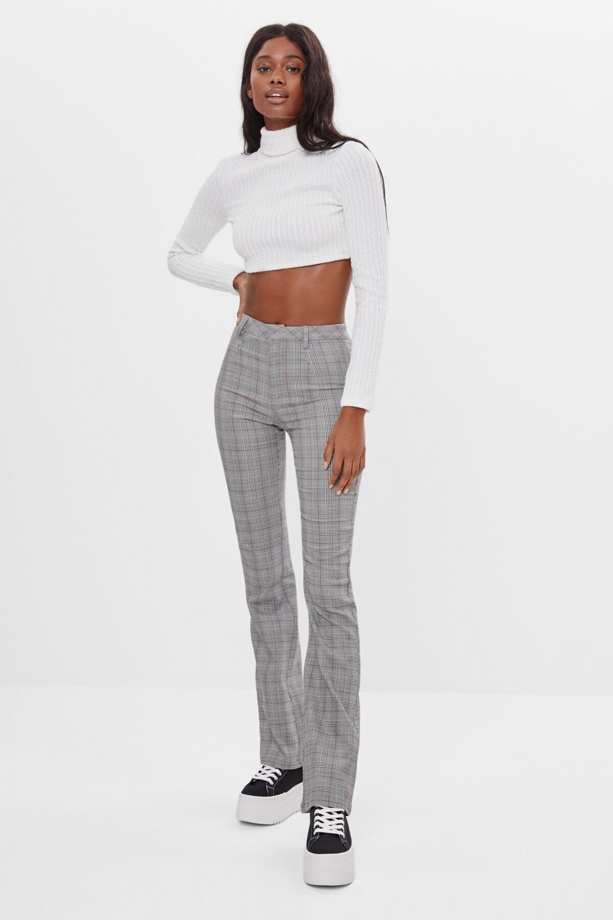 Bershka Kadın Gri Ispanyol Paça Pantolon 1