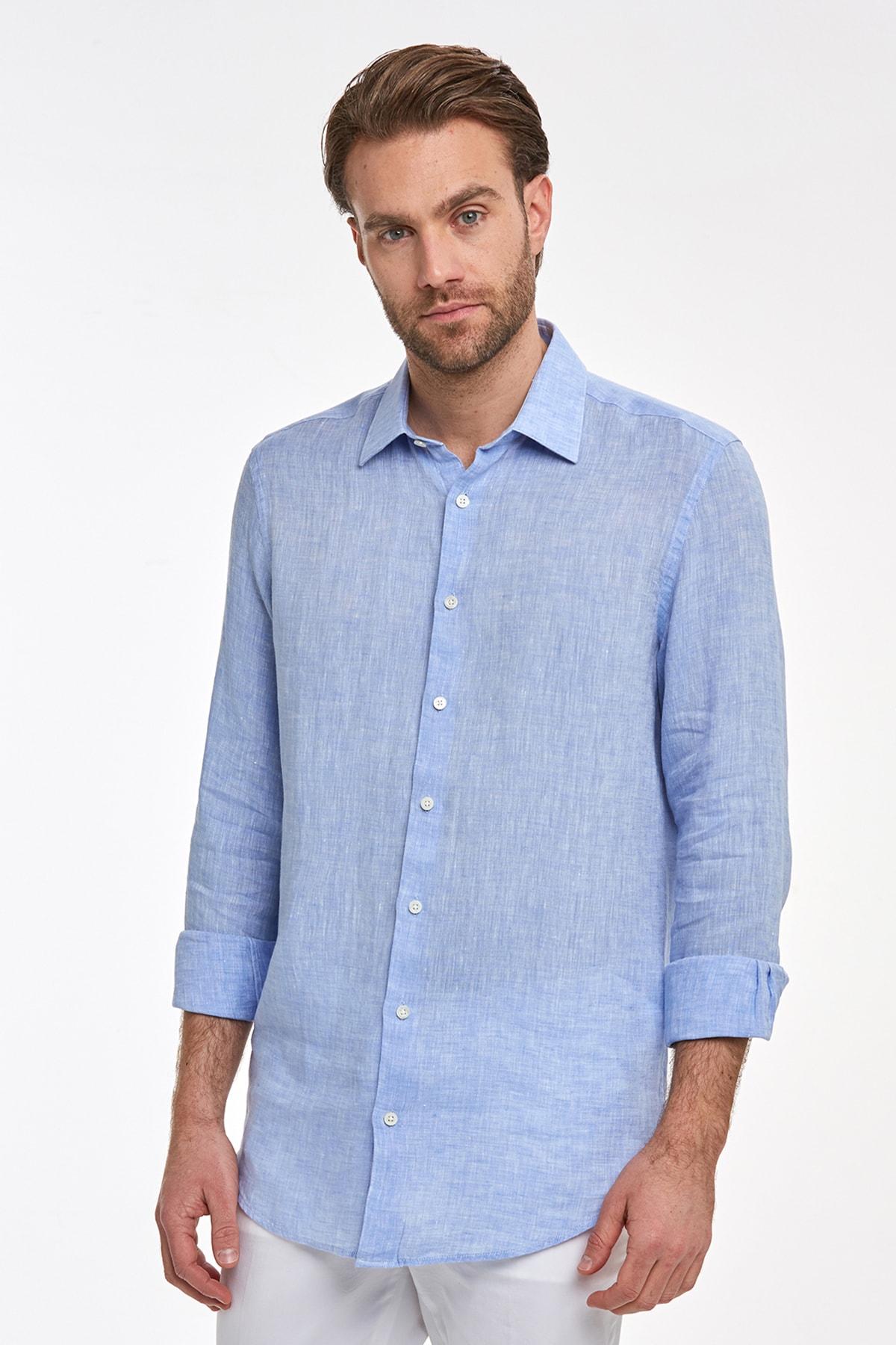 Hemington Erkek Açık Mavi Saf Keten Gömlek 1