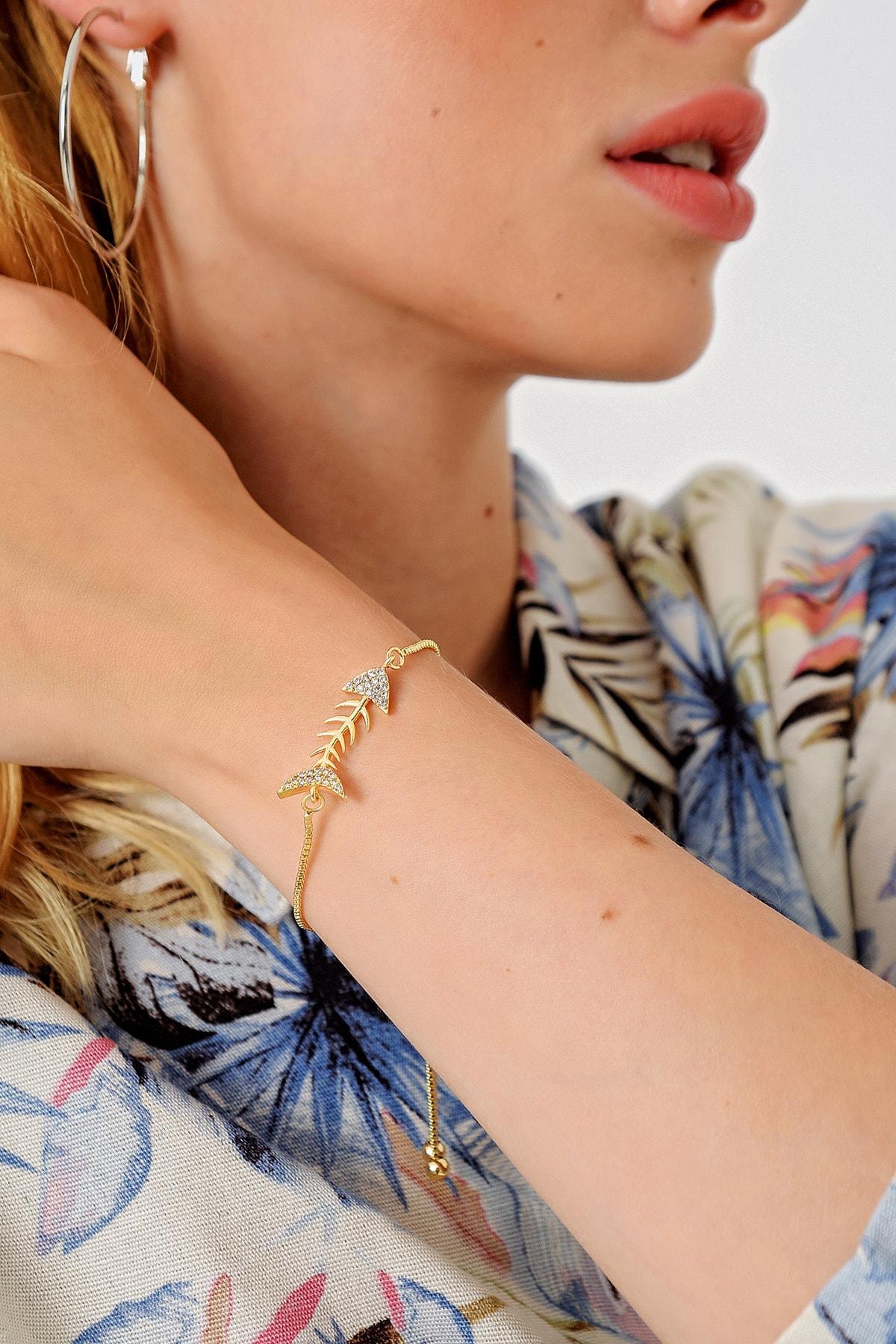 Trend Alaçatı Stili Kadın Gold Asansörlü Gold Taşlı Bileklik ALC-A1973 1