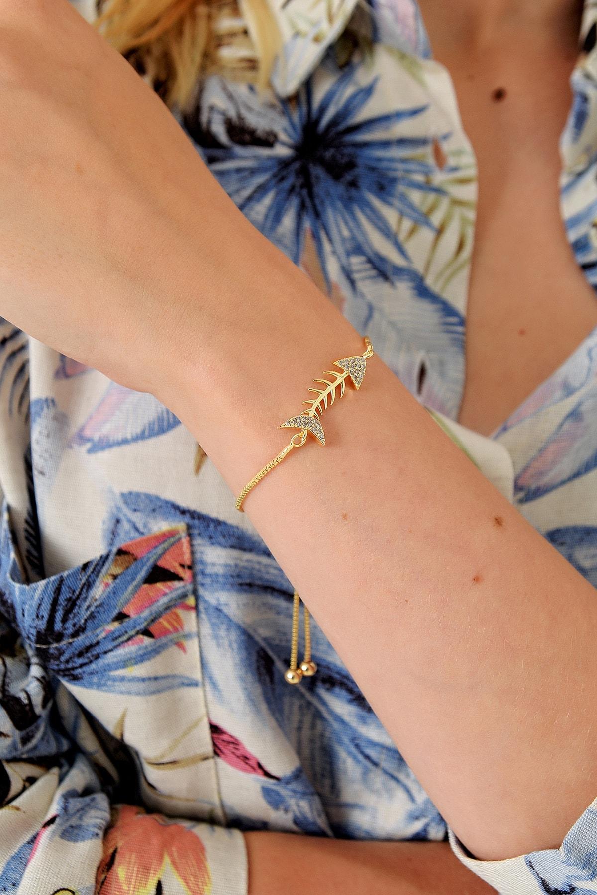 Trend Alaçatı Stili Kadın Gold Asansörlü Gold Taşlı Bileklik ALC-A1973 2