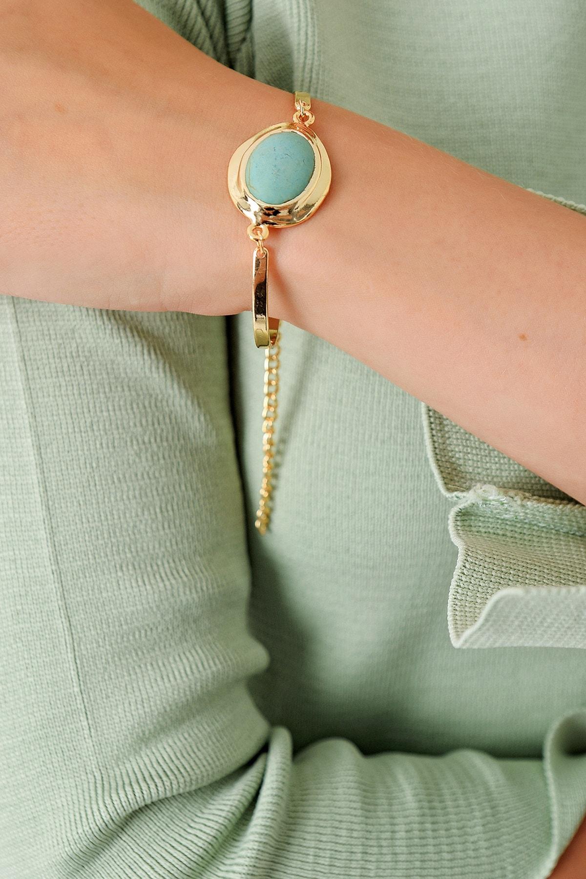 Trend Alaçatı Stili Kadın Gold Asansörlü Gold Taşlı Bileklik ALC-A1976 1