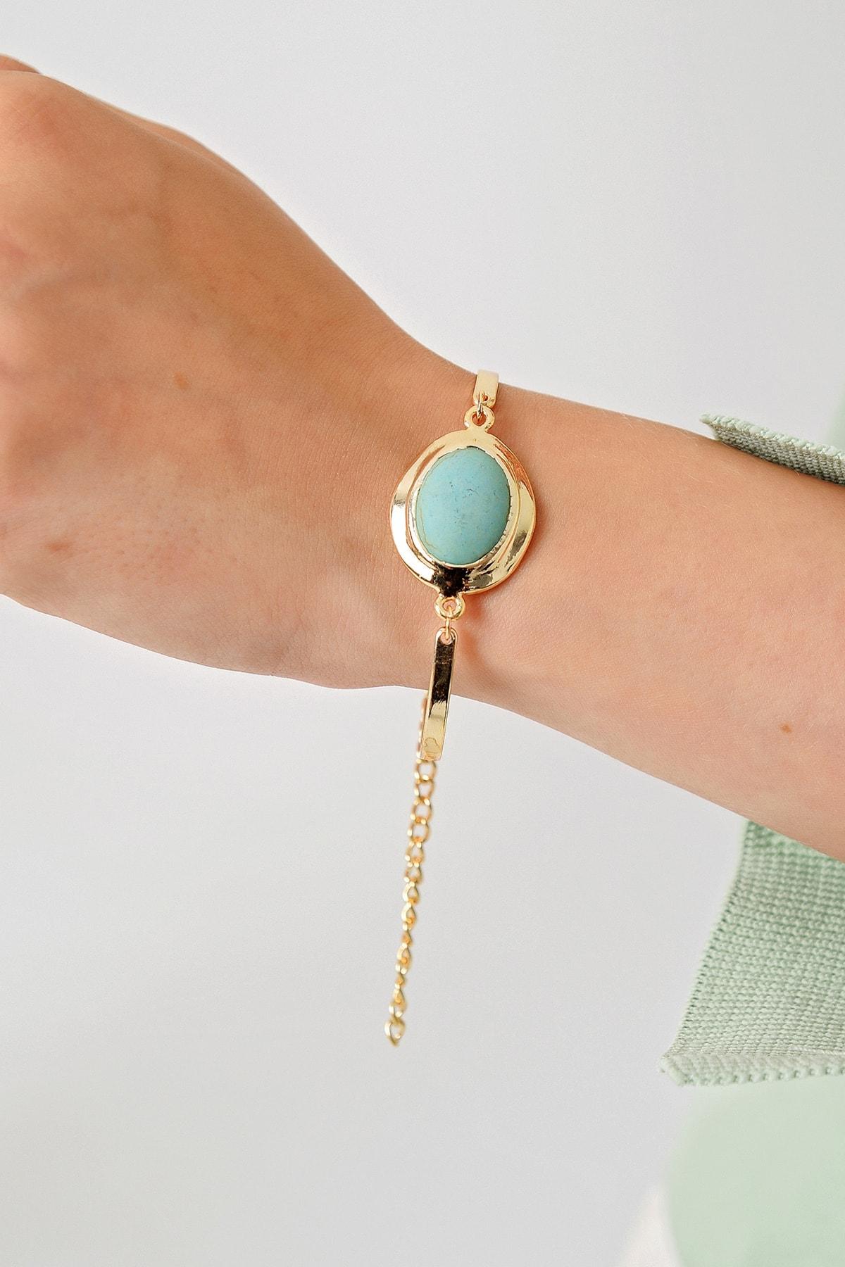 Trend Alaçatı Stili Kadın Gold Asansörlü Gold Taşlı Bileklik ALC-A1976 2