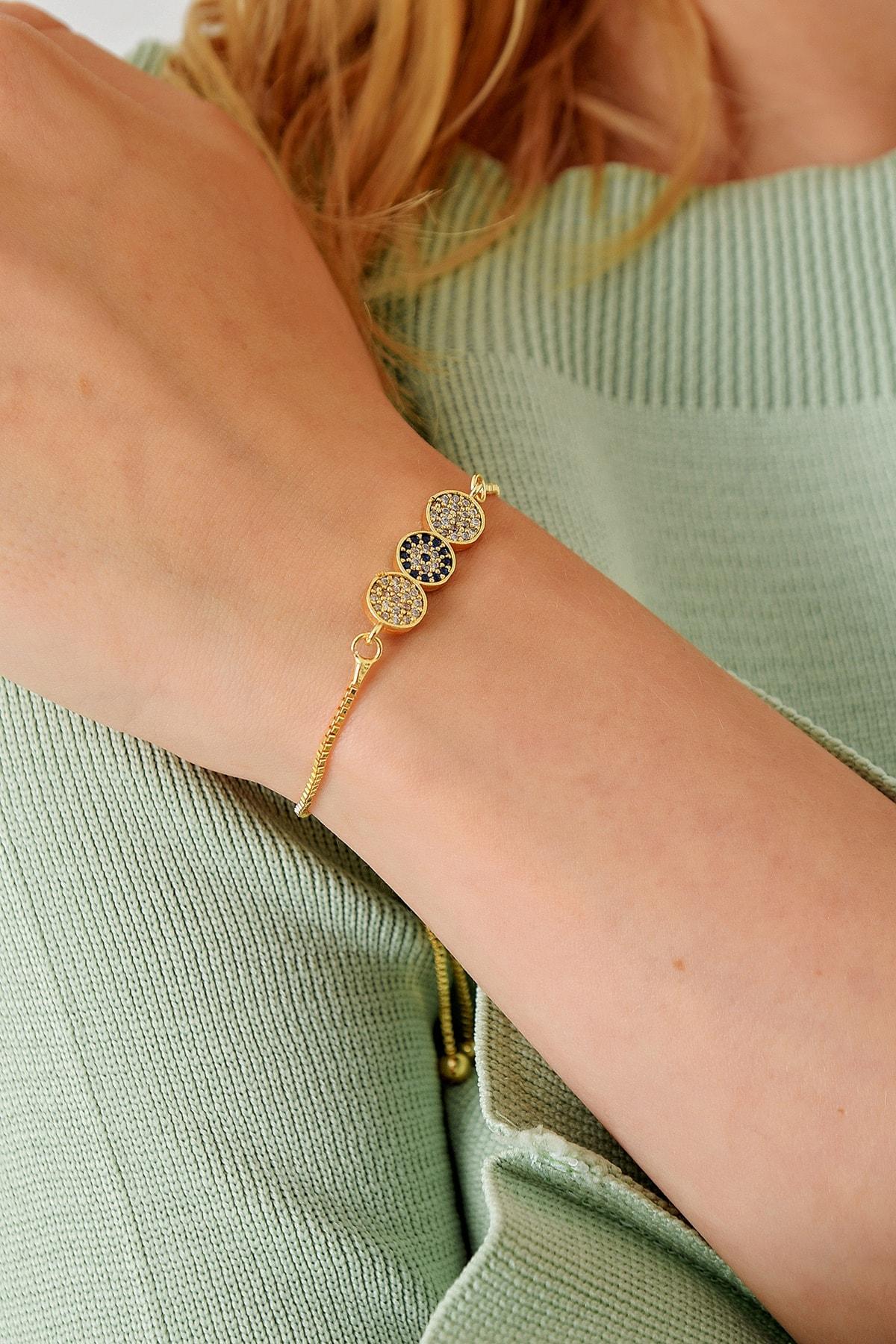 Trend Alaçatı Stili Kadın Gold Asansörlü Gold Taşlı Bileklik ALC-A1974 1