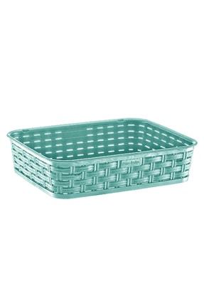 moniev Plastik Dekoratif Sepet Yeşil, Düzenleyici Rattan Basket Sepet Orta