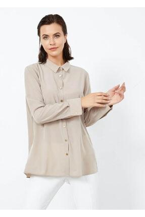 Adze Kadın Vizon Düğmeli Şık Gömlek