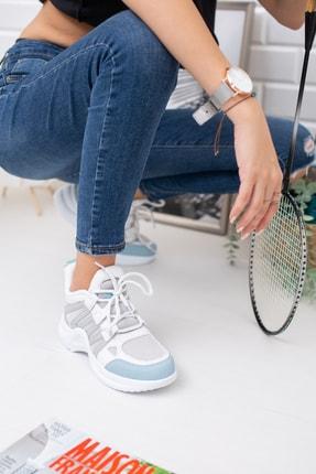 meyra moda Beyaz Mavi Spor Ayakkabı