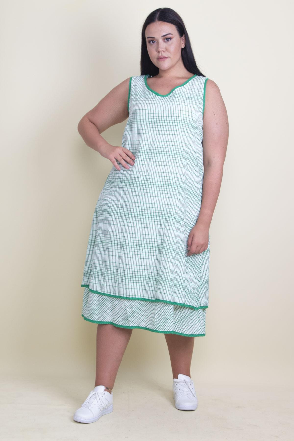 Şans Kadın Yeşil Biye Detaylı Etek Ucu Katlı Astarlı Elbise 65N17881 1