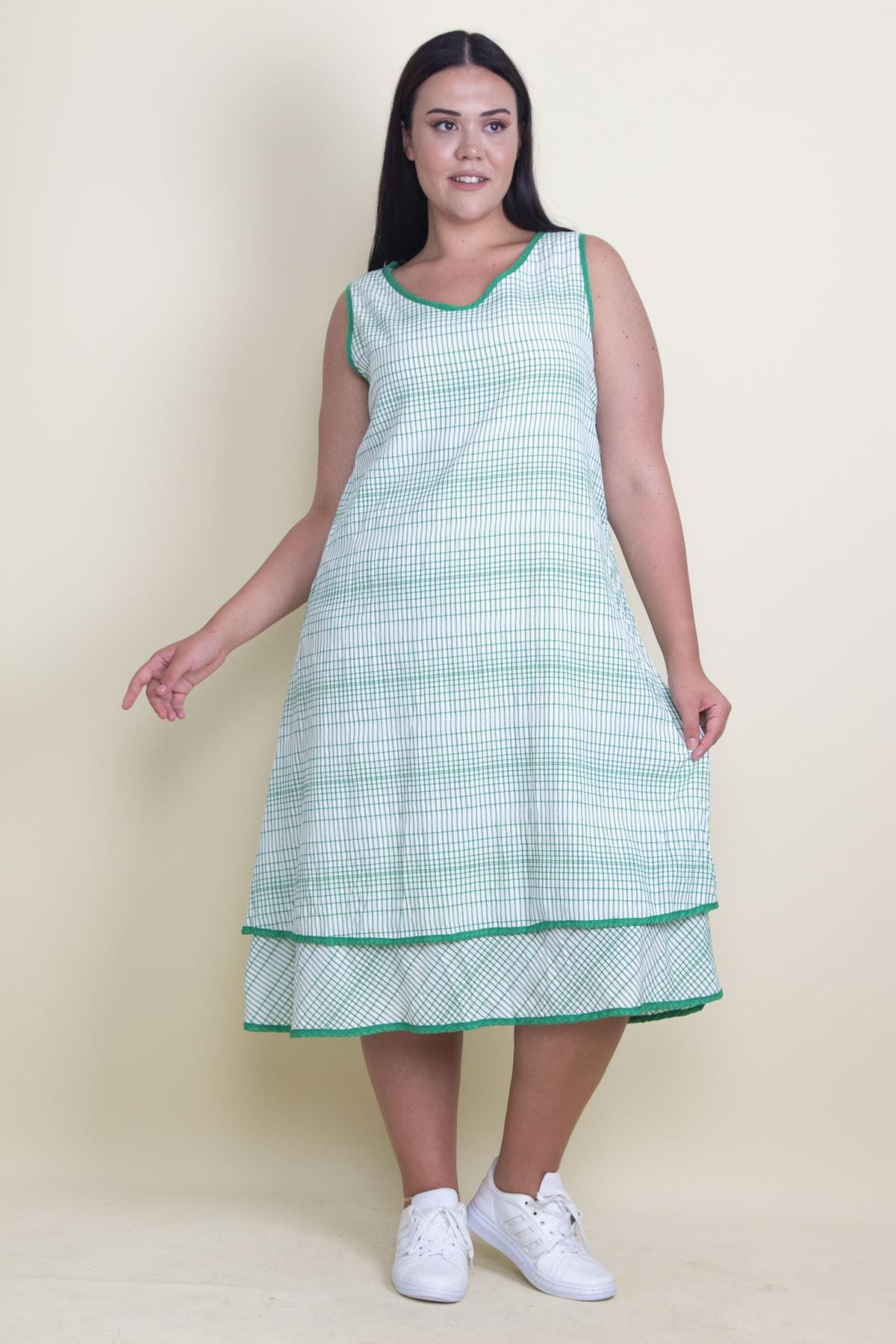 Şans Kadın Yeşil Biye Detaylı Etek Ucu Katlı Astarlı Elbise 65N17881 2