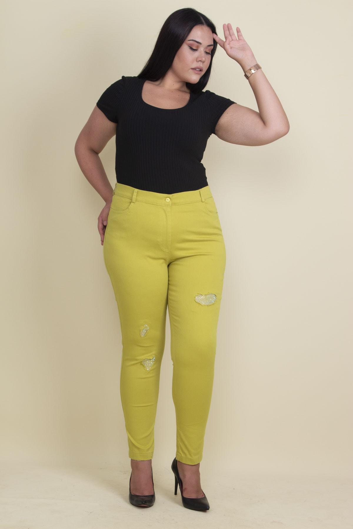 Şans Kadın Yeşil Taş Ve Yırtık Detaylı Likralı Pantolon 65N17889 2