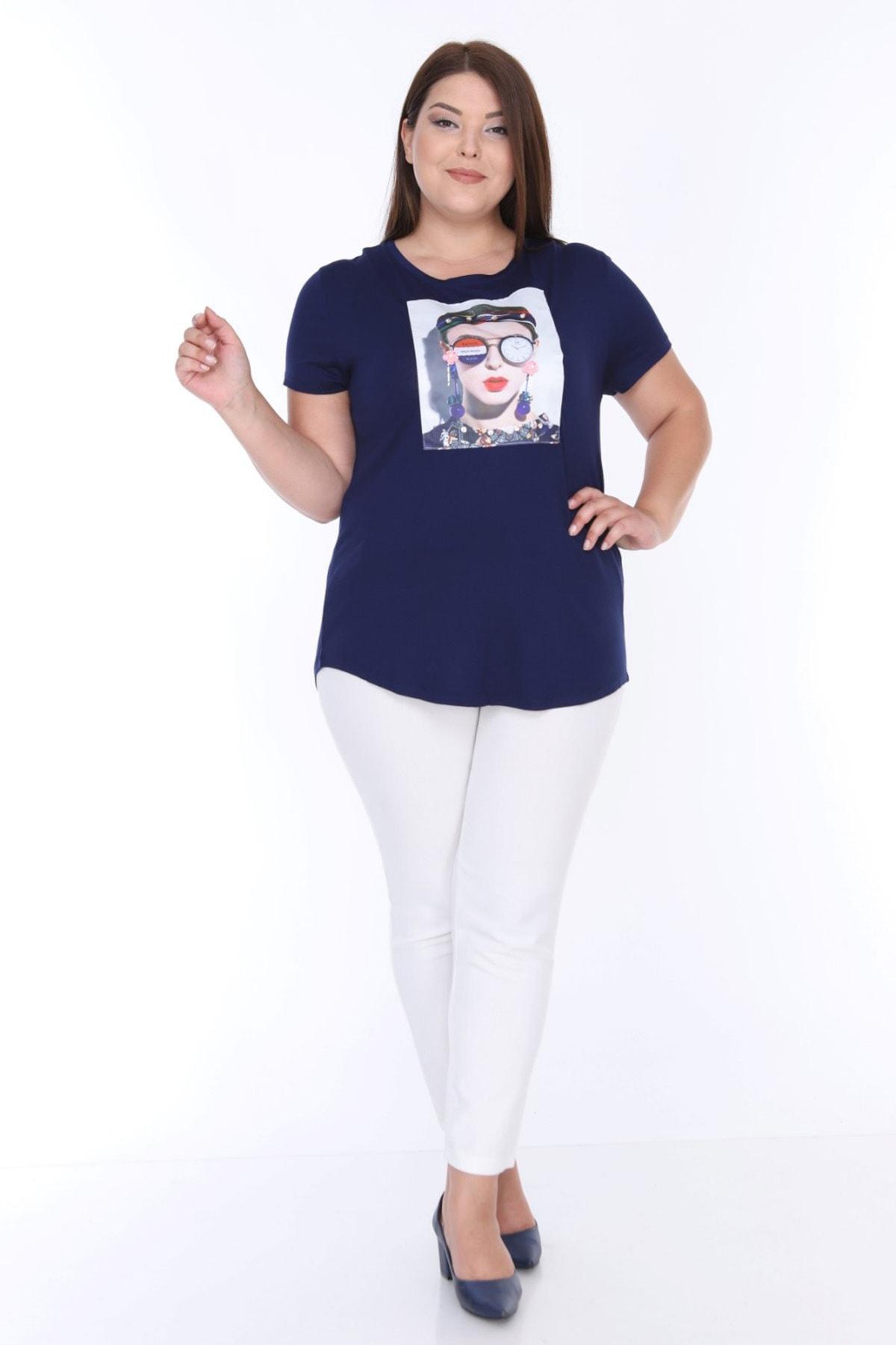 Şans Kadın Lacivert Digital Baskı İnci İşli Bluz 65N18004 2