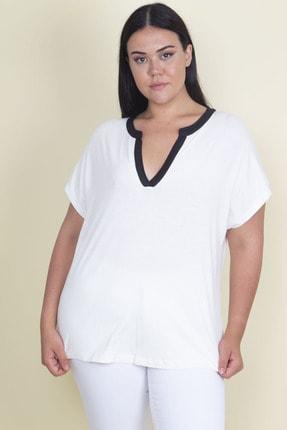 Şans Kadın Kemik Biye Detaylı Düşük Kol V Yakalı Viskon Bluz 65N17959